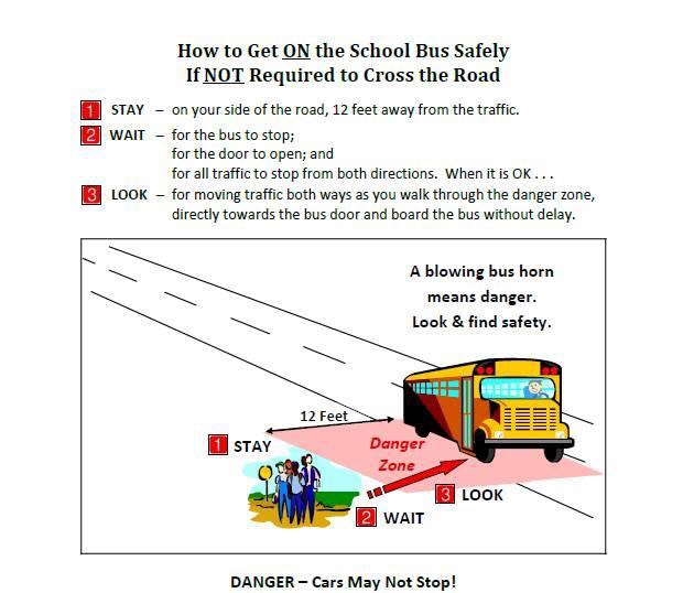 HOW TO GET ON THE SCHOOL BUS DAFELY IF NOT REQUIRED TO CROSS THE ROAD