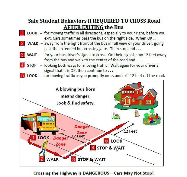 SAFE STUDENT BAHAVIORS IF REQUIRED TO CROSS ROAD AFTER EXITING THE BUS