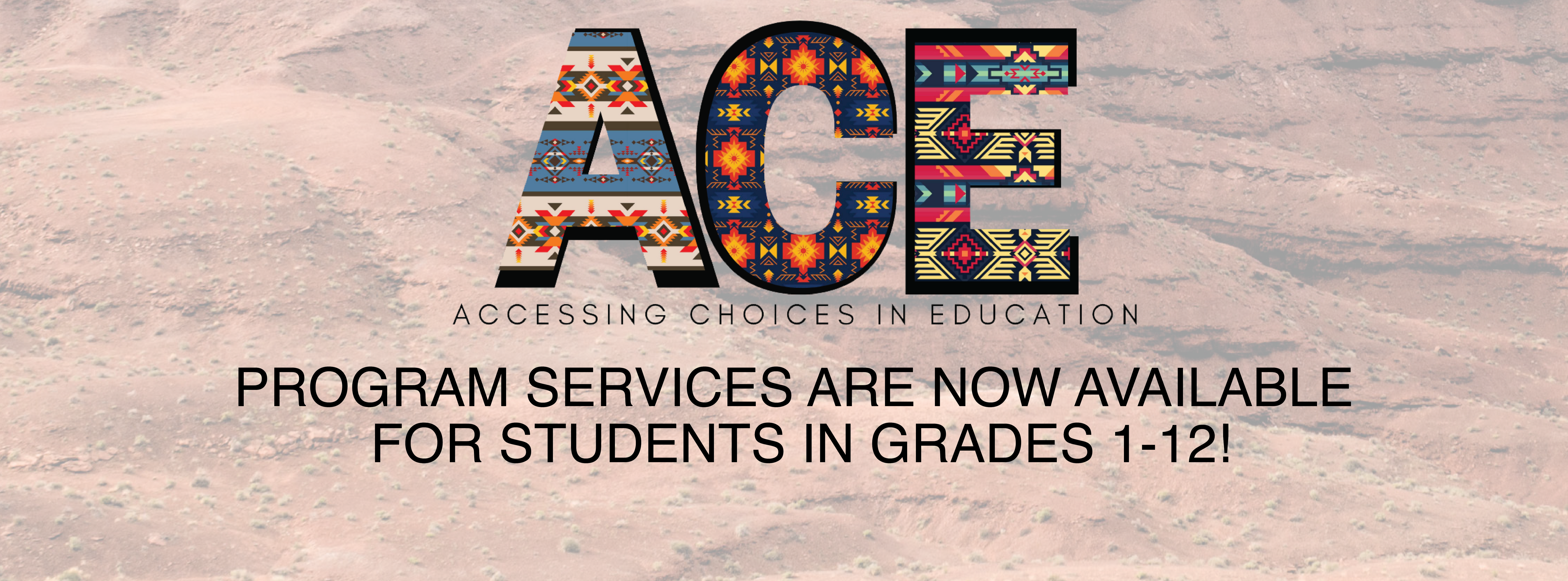 Text reads ACE Program is now offering options for Grades 1-12