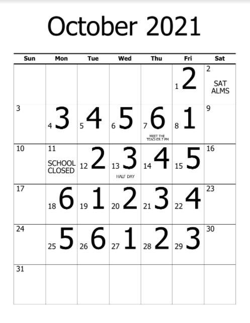 October Monthly Calendar