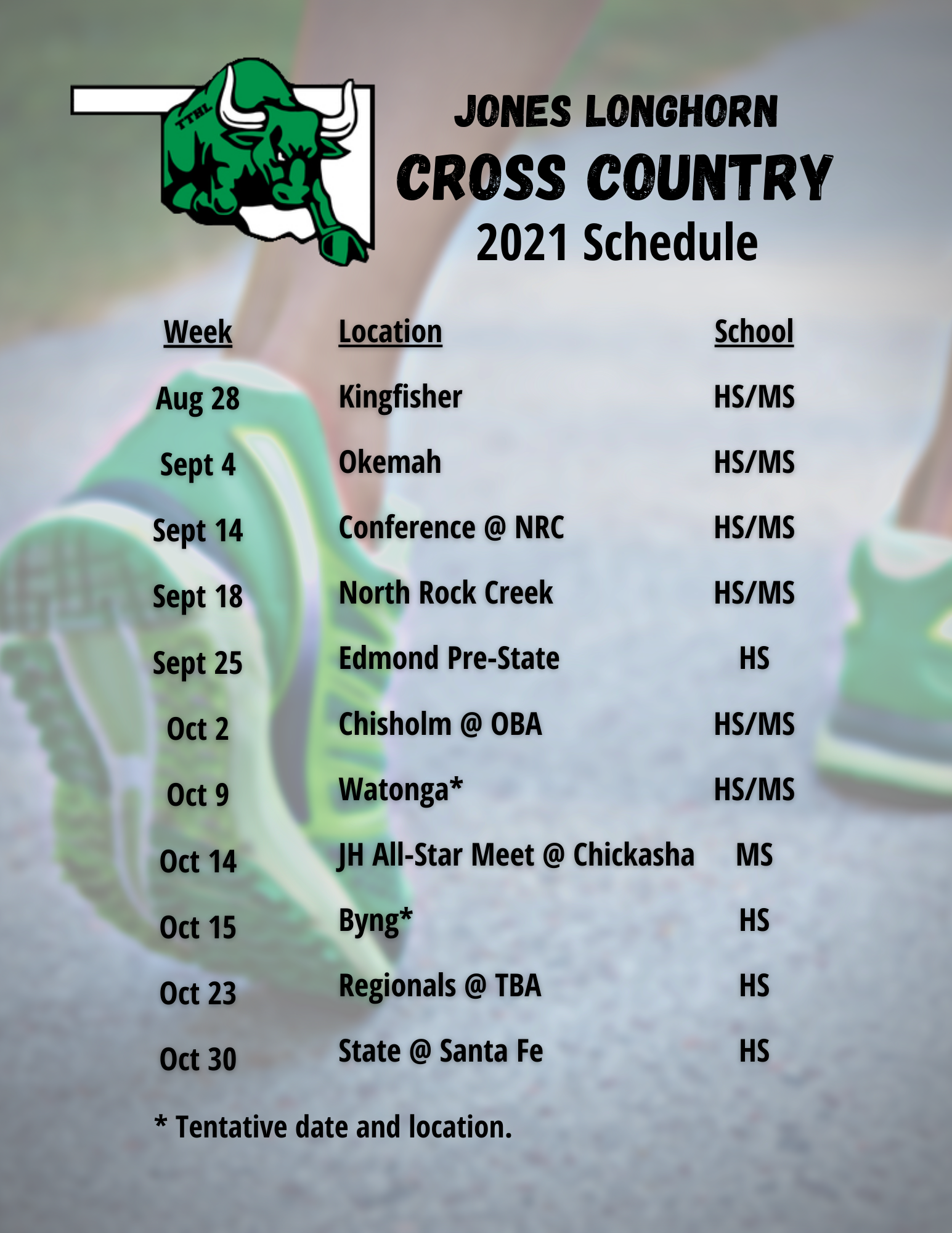 2021 Cross Country Schedule