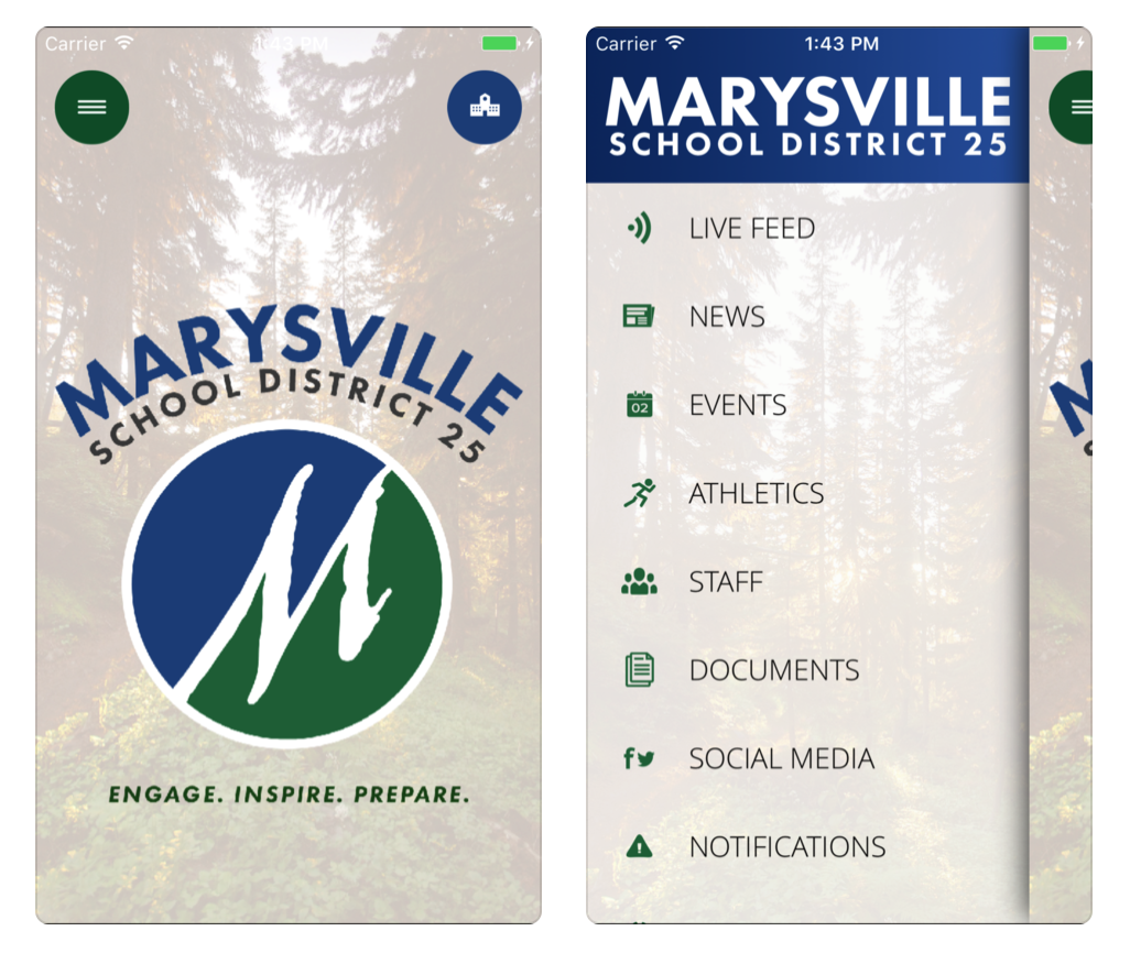 A photo of the school's mobile apps