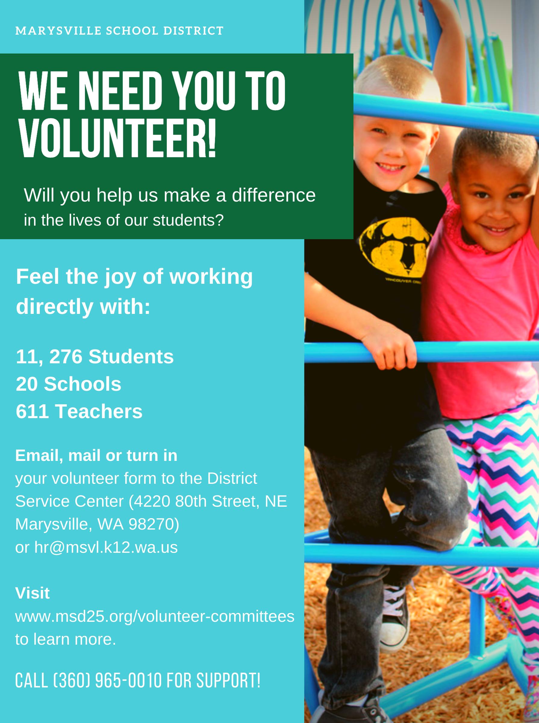 We Need you to Volunteer Flyer
