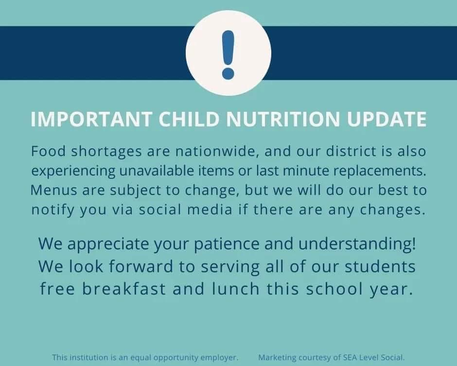 Child Nutrition Supply Chain Update