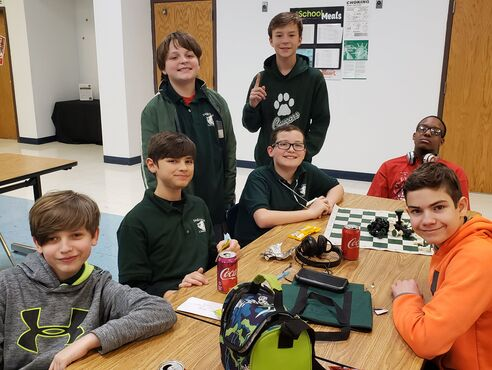 Group of students playing chess