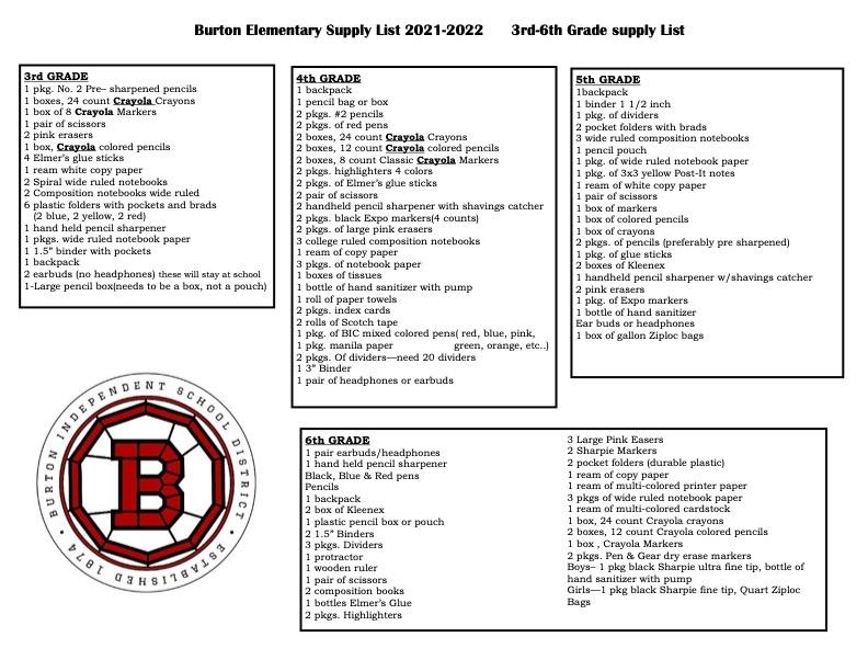 Supply List 3-6