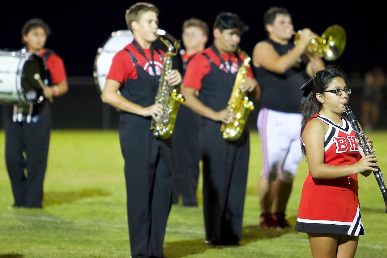 Band, Cheer, & Football playing instruments