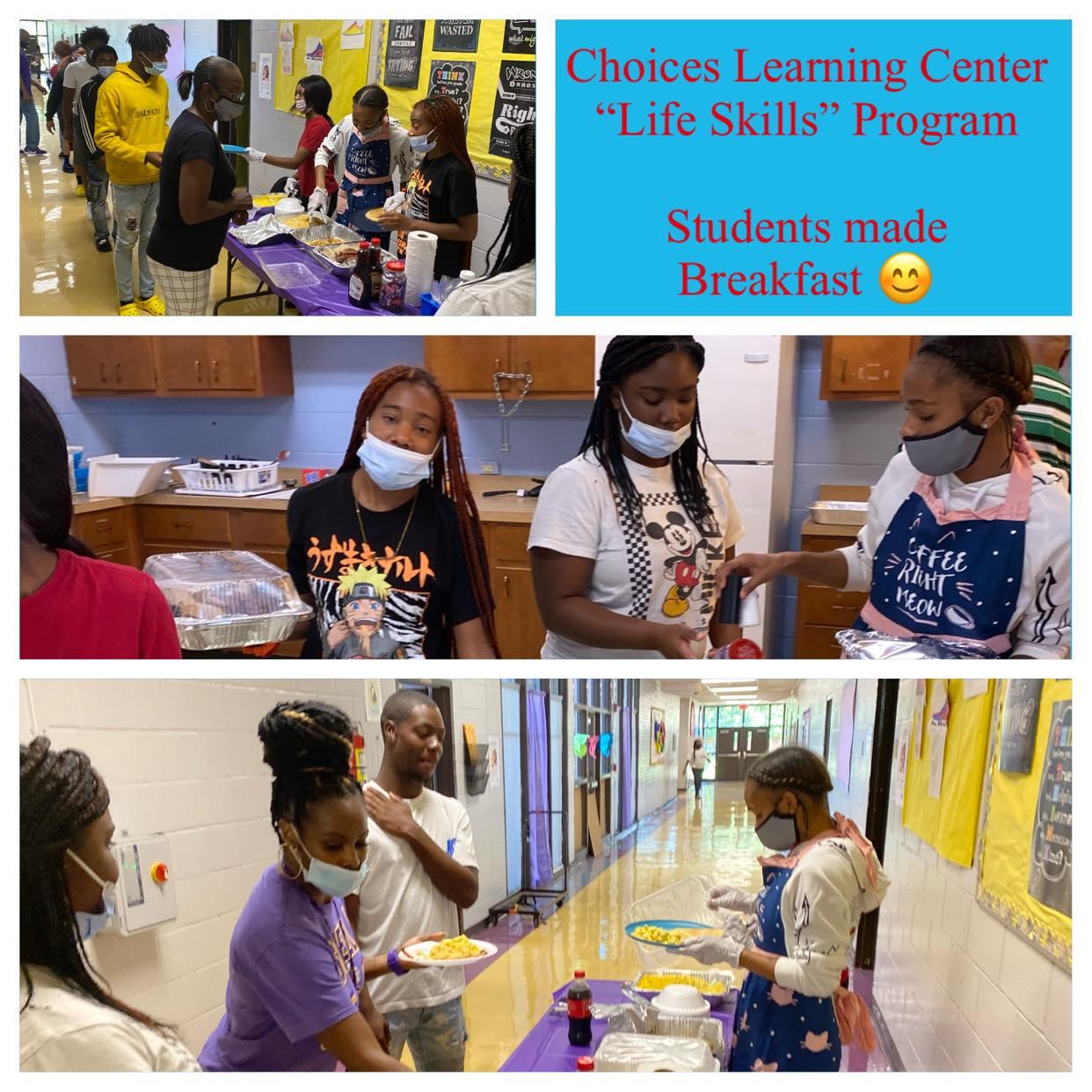 Students prepare breakfast