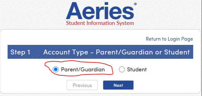 parent/guardian account type screen shot