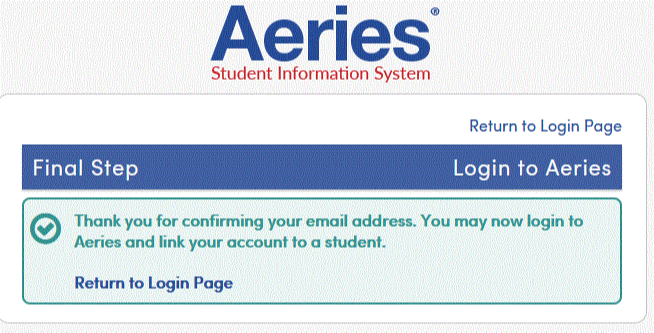 email confirmation screen shot