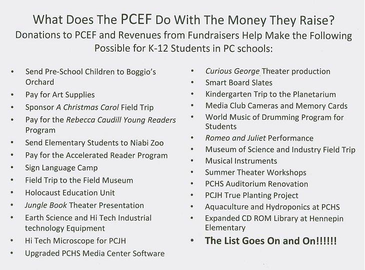 photo explaining where the money PCEF raises goes