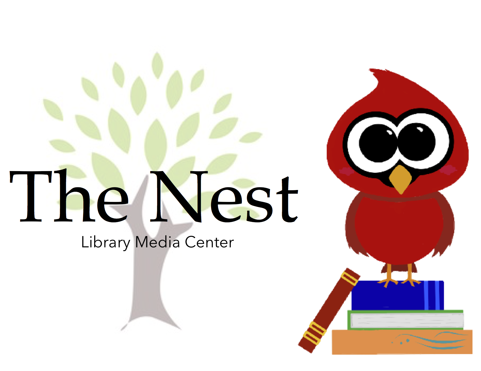 The Nest Library/Media Center logo contains a small tree as background for the letters. Next to them there's a small red bird perched on top of a pile of three books.