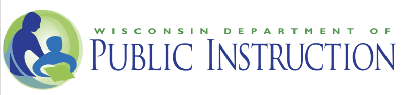 Wisconsin Department of Public Instruction logo, with two people in blue and purple colors, one of them holding up a book.