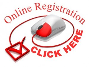 A graphic of a computer mouse with a checkbox, Online Registration Click Here