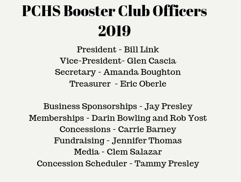 PCHS Booster Club Officers 2019