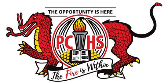 """The PCHS logo, a dragon with the words """"the opportunity is here,"""" """"the fire is within,"""" """"PCHS"""""""