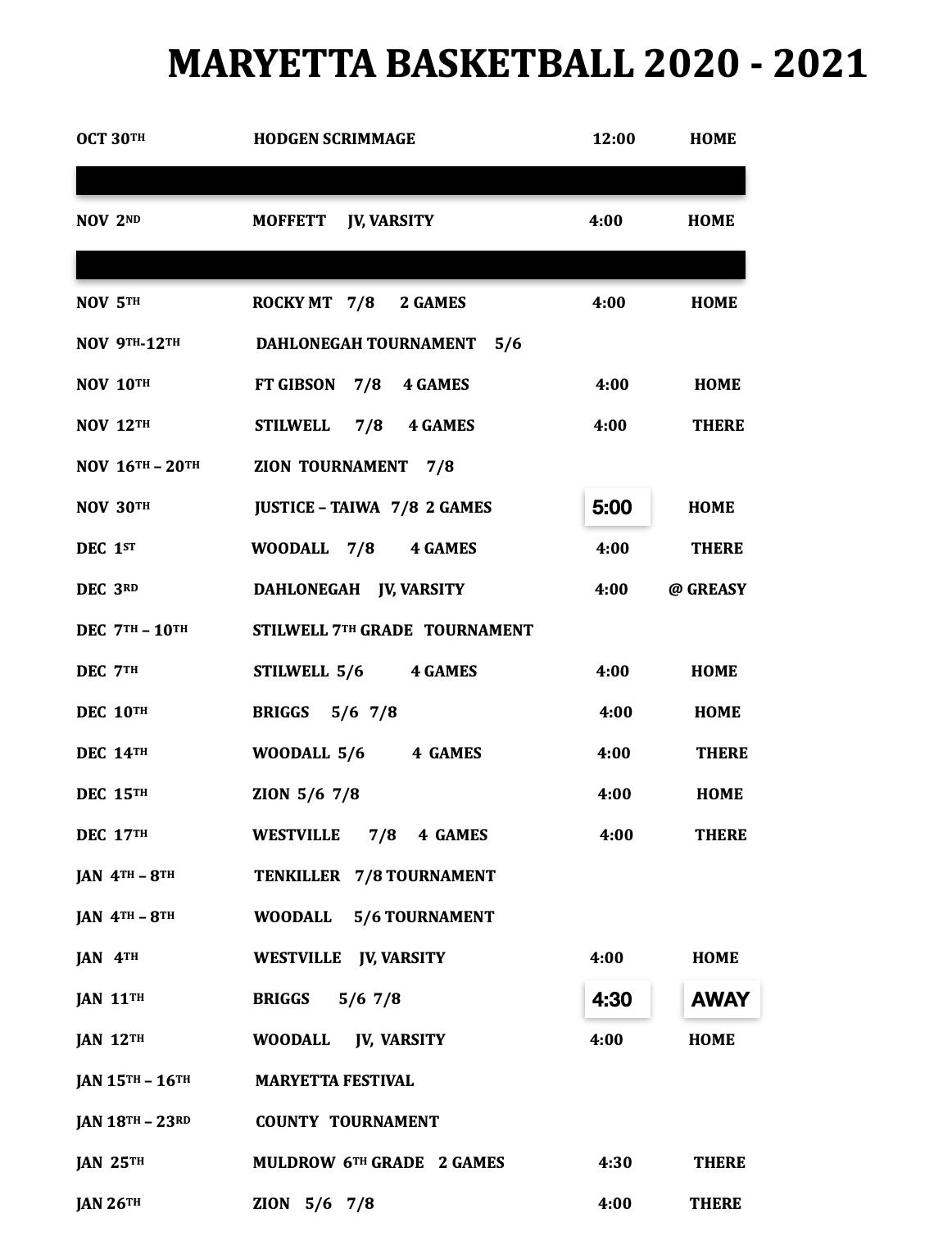 Bball Schedule