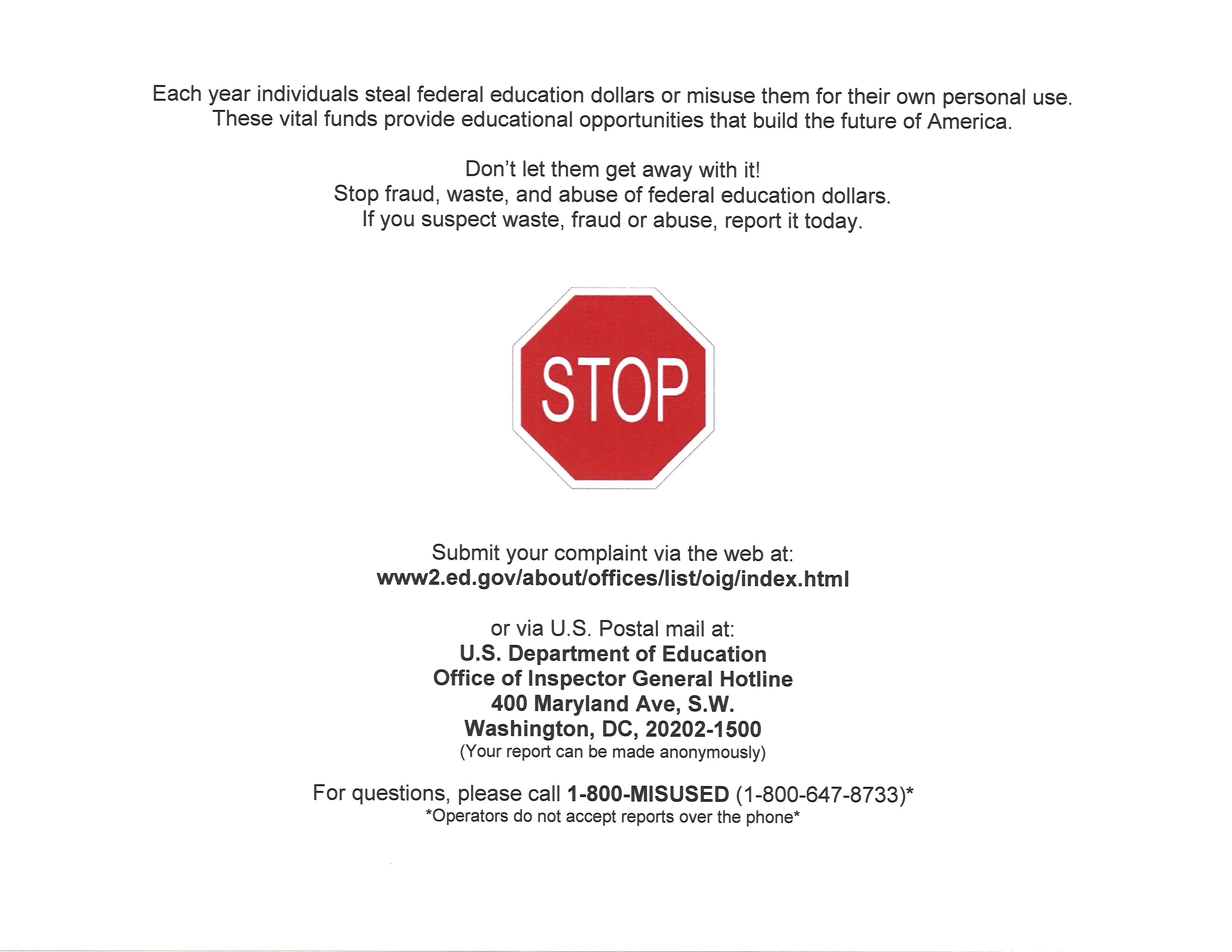 Stop Fraud Hotline